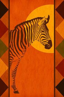 Die warmen Farben Afrikas mit Zebra von Monika Juengling