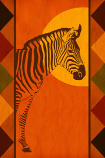 Die warmen Farben Afrikas mit Zebra by Monika Juengling