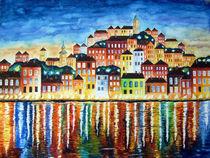 Bunter Hafen bei Nacht Malerei von siegfried2838