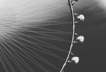 Ferris Wheel with sunset sky background in black and white by timla