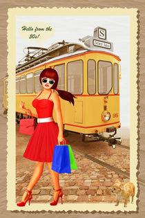 Straßenbahn aus den 50er Jahren mit Pin Up Girl von Monika Juengling