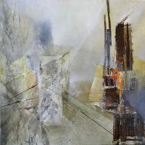 Abstrakte Komposition in weiß und grau by Annette Schmucker