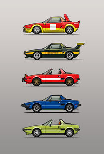 Stack of Fiat X1/9 Sports Cars by monkeycrisisonmars