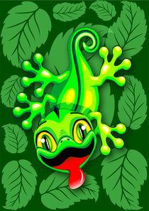 Gecko Lizard Baby Cartoon  by bluedarkart-lem