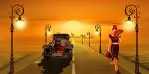 Romantische Strasse mit Oldtimer von Monika Juengling