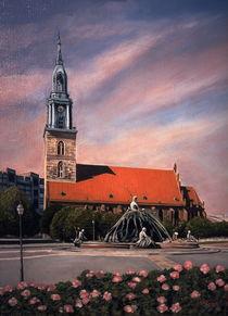 Marienkirche und Neptunbrunnen von Heinz Sterzenbach
