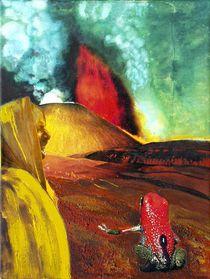 Pfeilgiftfrosch vor Vulkan by Heinz Sterzenbach