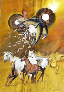 VU 18 Galoppierende Pferdeherde 2 von Heinz Sterzenbach