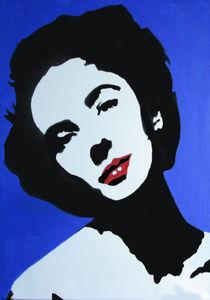 Sexy Frau in schwarz/weiß mit roten Lippen von Klaus Engels