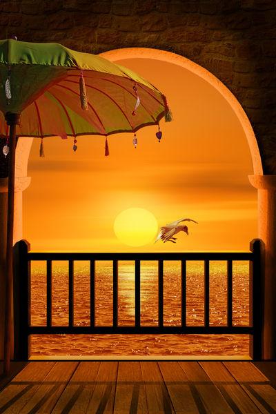 Sonnenuntergang-schirm