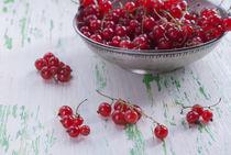 Ripe red currants in a metal plate von Andrey Lipinskiy