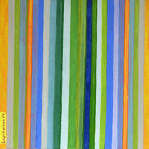 Vibrant Stripes in Orange Green and Blue  by Heidi  Capitaine