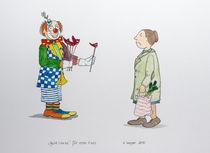 Gute Laune,Humor, Clown, Bunt, Frau, Einkauf, Zeichnung, Aquarell von Angelika Wegner