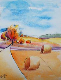 Erntezeit, Herbst, Stroh, Indian Summer, Landschaft, Malerei, Aquarell von Theodor Fischer