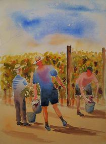Weinlese, Herbst, Trauben, Menschen von Theodor Fischer
