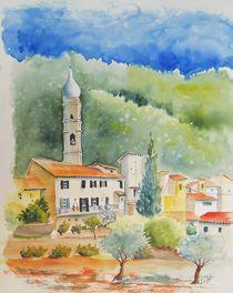 Montegrazie, Ligurien, Dorf, Italien, Aquarell by Theodor Fischer
