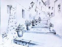 Reiseskizze, Competa, Andalusien, weiße Dörfer, Fineliner by Theodor Fischer
