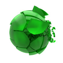 broken cracked green glass ball von Siarhei Fedarenka