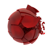 broken cracked red glass ball von Siarhei Fedarenka