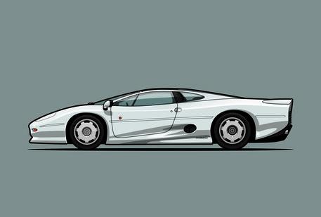 Illu-jaguar-xj220-silver-poster