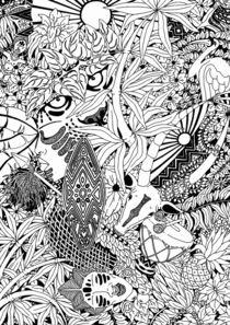 Africa Tribal Doodle Art   by bluedarkart-lem