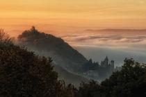 Sonnenaufgang im Siebengebirge mit Nebel von Frank Landsberg