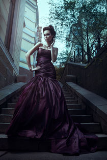 Beautiful woman in violet dress by Evgeniia Litovchenko