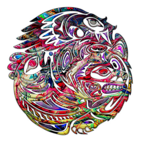 Abstract-eagle-bass-and-bear-tribal-art