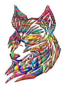 Abstract Tribal Wolf by Blake Robson