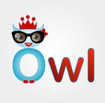A cute nerd owl with a crown by Shawlin Mohd