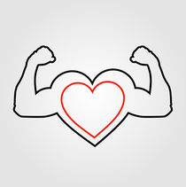 A heart with flexing muscles- Healthy heart  by Shawlin Mohd