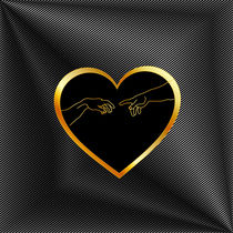 Creation of Adam inside a golden heart and metallic texture  by Shawlin Mohd