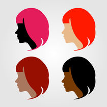 Faces of four multi-ethnic women  by Shawlin Mohd