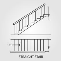 Top view and front view of a straight staircase  von Shawlin Mohd