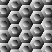 Op Art Hexagon in white and grey colors  by Shawlin Mohd