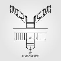 Top view and front view of a bifurcated staircase  von Shawlin Mohd