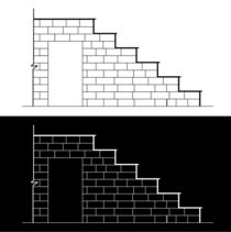 Drawing of a brick stair with stone or marble slab  von Shawlin Mohd