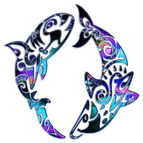 Abstract-tribal-sharks-circling