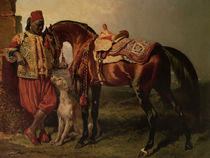 African Groom Holding a Stallion by Alfred de Dreux by Maria Hjerppe
