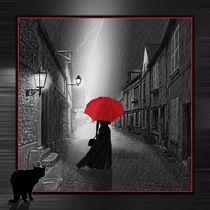 Die Frau mit dem roten Regenschirm Nr. 2 eingerahmt von Monika Juengling