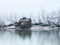Water mill on the frosted trees in Jelka by Zoltan Duray