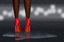 High heels in the rain Nr. 1 in red by Monika Juengling