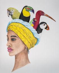 Portrait mit Turban von Angelika Wegner
