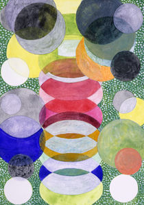 Overlapping Ovals and Circles on Green Dotted Ground, watercolor on paper by Heidi  Capitaine