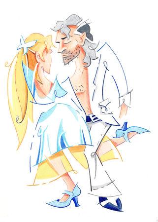 Tango-nuevo-step-gancho-dancing-illustration