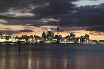 Skyline of Auckland by night by stephiii