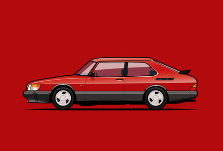 Illu-saab-900-turbo-red-poster