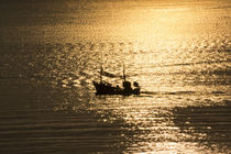 fisherboat and the reflections of the sun by anando arnold