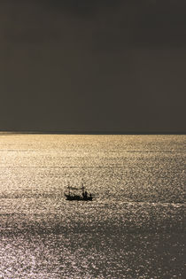 lonely fisherboat and golden reflections von anando arnold