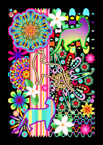 Mandalas, Cats & Flowers Fantasy Pattern  von bluedarkart-lem